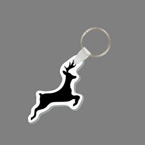 Punch Tag & Key Ring - Jumping Deer Silhouette Tag W/ Tab