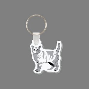 Punch Tag & Key Ring - Tabby Cat Tag W/ Tab