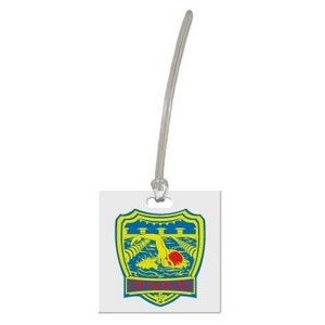 Custom shaped luggage tag - square 1C on colored vinyl