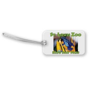 "Custom shaped luggage tag - rectangle 1 (3.5""x2"") 1C on colored vinyl"
